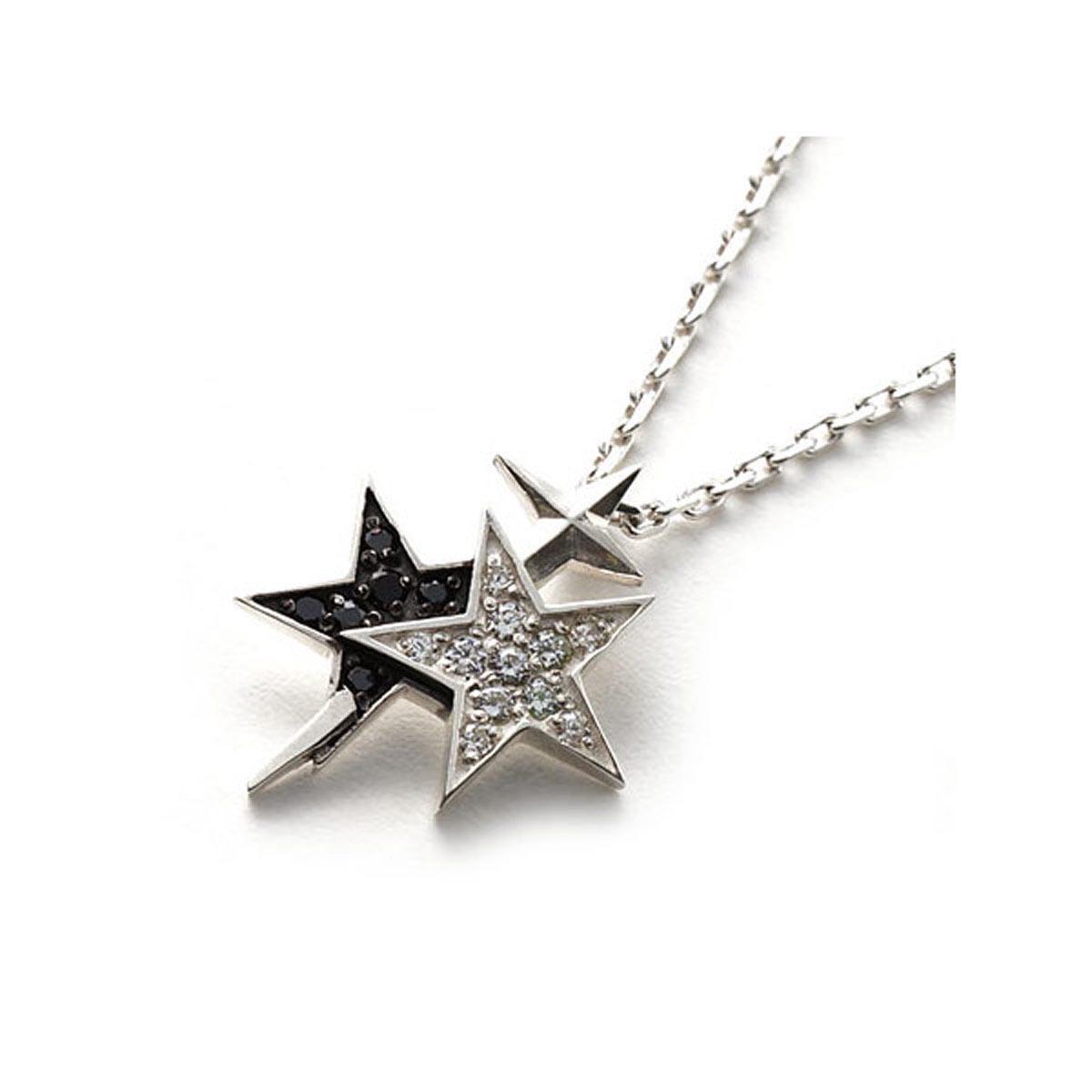ガーデル GARDEL ネックレス メンズ レディース ギフト プレゼント gdp098 sv cz bk LAYERED STAR【返品交換不可】【ラッピング無料】