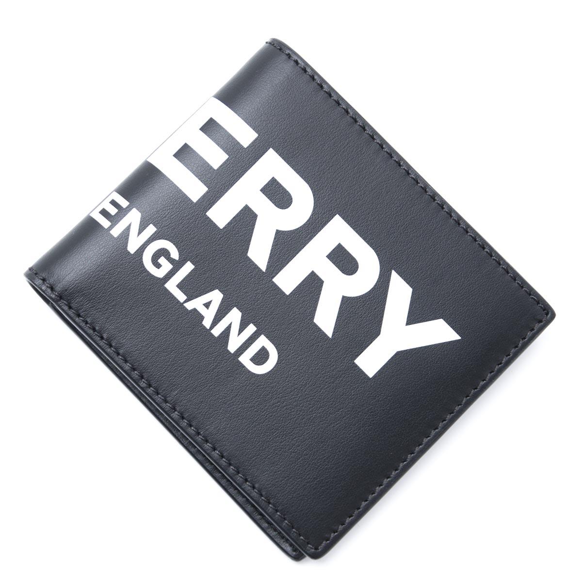バーバリー BURBERRY 2つ折り 財布 ブラック メンズ ウォレット ギフト プレゼント 8008887 black LOGO PRINTED LEATHER【あす楽対応_関東】【返品送料無料】【ラッピング無料】