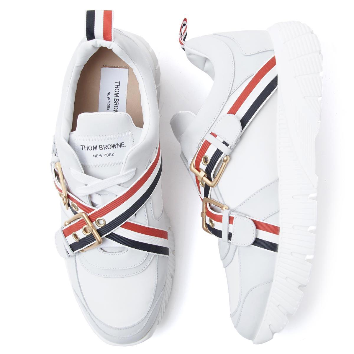 【アウトレット】トムブラウン THOM BROWNE. スニーカー ホワイト メンズ シューズ 靴 カジュアル 大きいサイズあり mfd130a 00618 100 RASED RUNNING SHOE【返品送料無料】【ラッピング無料】【190621】