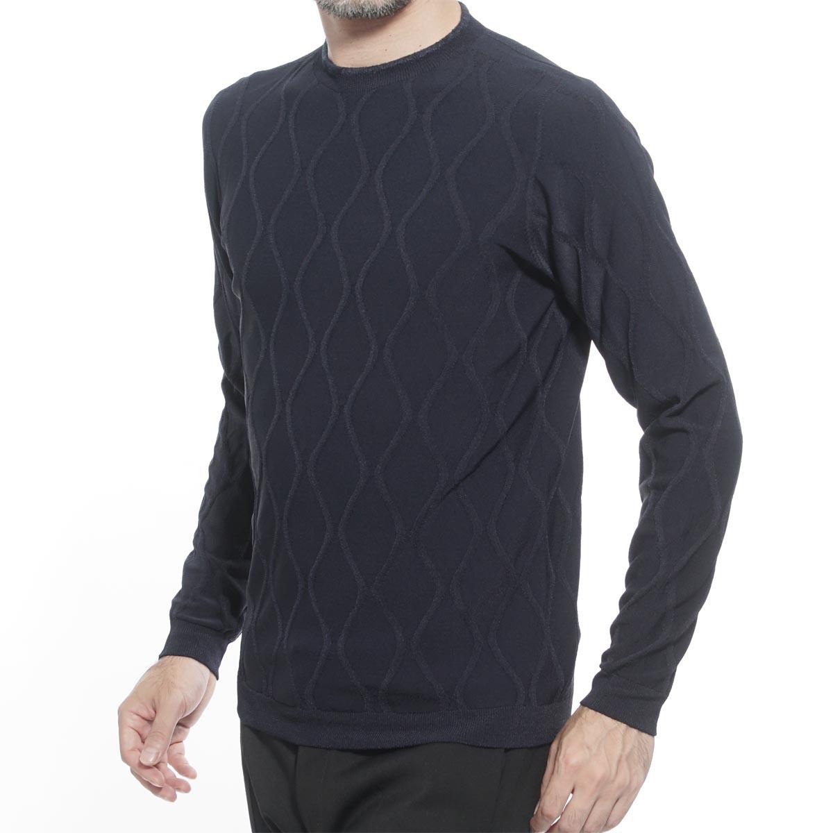 ジョルジオアルマーニ GIORGIO ARMANI ラウンドネック セーター ブルー メンズ ニット カジュアル トレンド 6gsmb2 smb3z ubwf JACQUARD SWEATER【返品送料無料】【ラッピング無料】【190703】