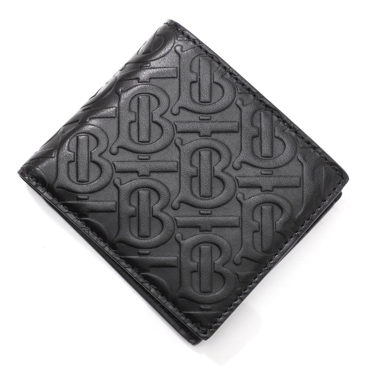 バーバリー BURBERRY 2つ折り 財布 小銭入れ付き ブラック メンズ ウォレット ギフト レザー プレゼント 8017655 black MONOGRAMED LEATHER BILL COIN WALLET【返品送料無料】【ラッピング無料】
