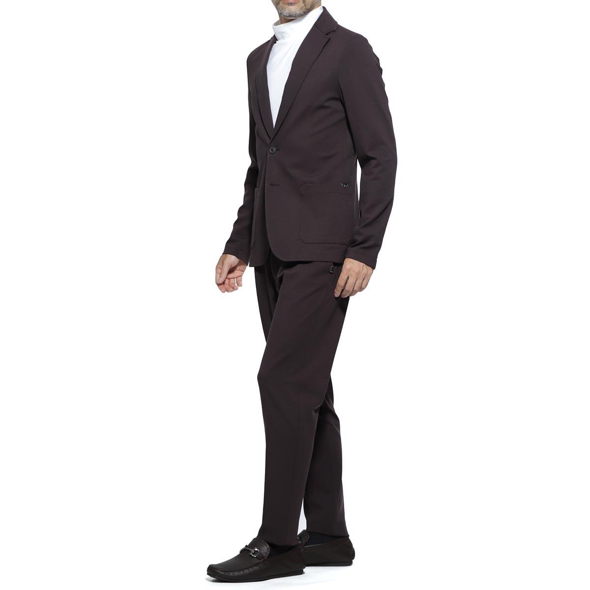 【アウトレット】【ラスト1点】ティージャケット T-JACKET シングル 2つボタンスーツ ブラウン メンズ テーラード ジャケット パンツ カジュアル セットアップ 51ba419j 9194u 800 MAN FIT T-SUIT【あす楽対応_関東】【返品送料無料】