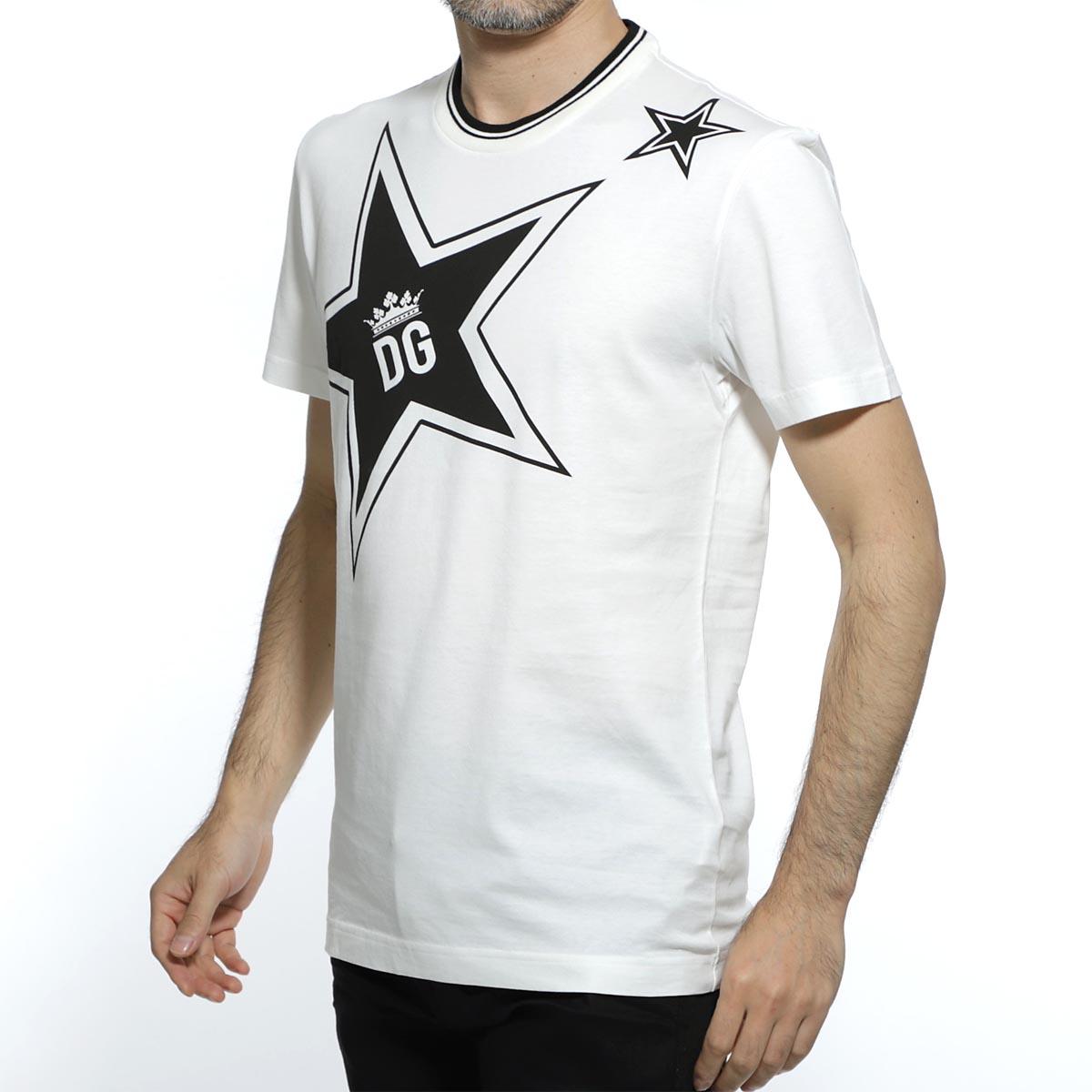 ドルチェ&ガッバーナ DOLCE&GABBANA ラウンドネック Tシャツ ホワイト メンズ デザイン カットソー カジュアル 大きいサイズあり g8kd0t fi7k3 ha1db STAR PRINT T-SHIRT【あす楽対応_関東】【返品送料無料】【ラッピング無料】