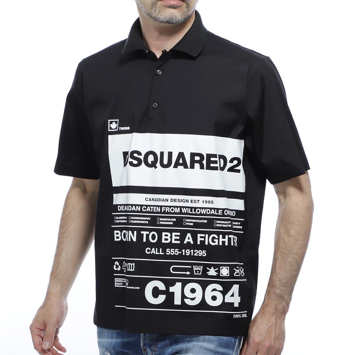 ディースクエアード DSQUARED2 プルオーバーシャツ ブラック メンズ コットン 綿 半袖 s74dm0390 s44131 900 C1964【あす楽対応_関東】【返品送料無料】【ラッピング無料】