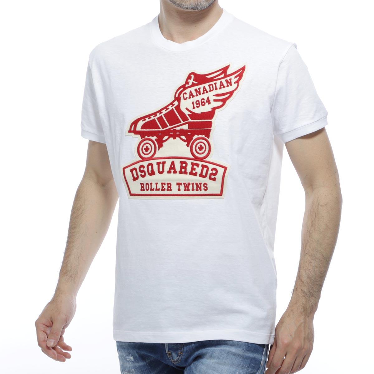 ディースクエアード DSQUARED2 クルーネックTシャツ ホワイト メンズ コットン 綿 s74gd0678 s22507 100 Roller Twins【あす楽対応_関東】【返品送料無料】【ラッピング無料】