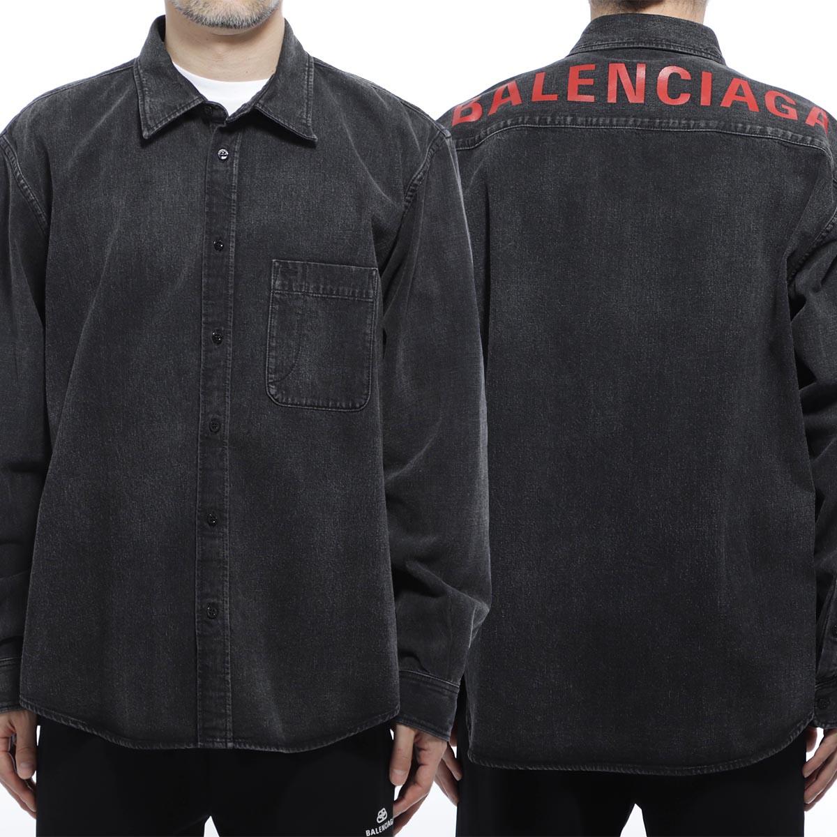 バレンシアガ BALENCIAGA デニムシャツ ブラック メンズ コットン 綿 571365 tbp19 5802【あす楽対応_関東】【返品送料無料】【ラッピング無料】
