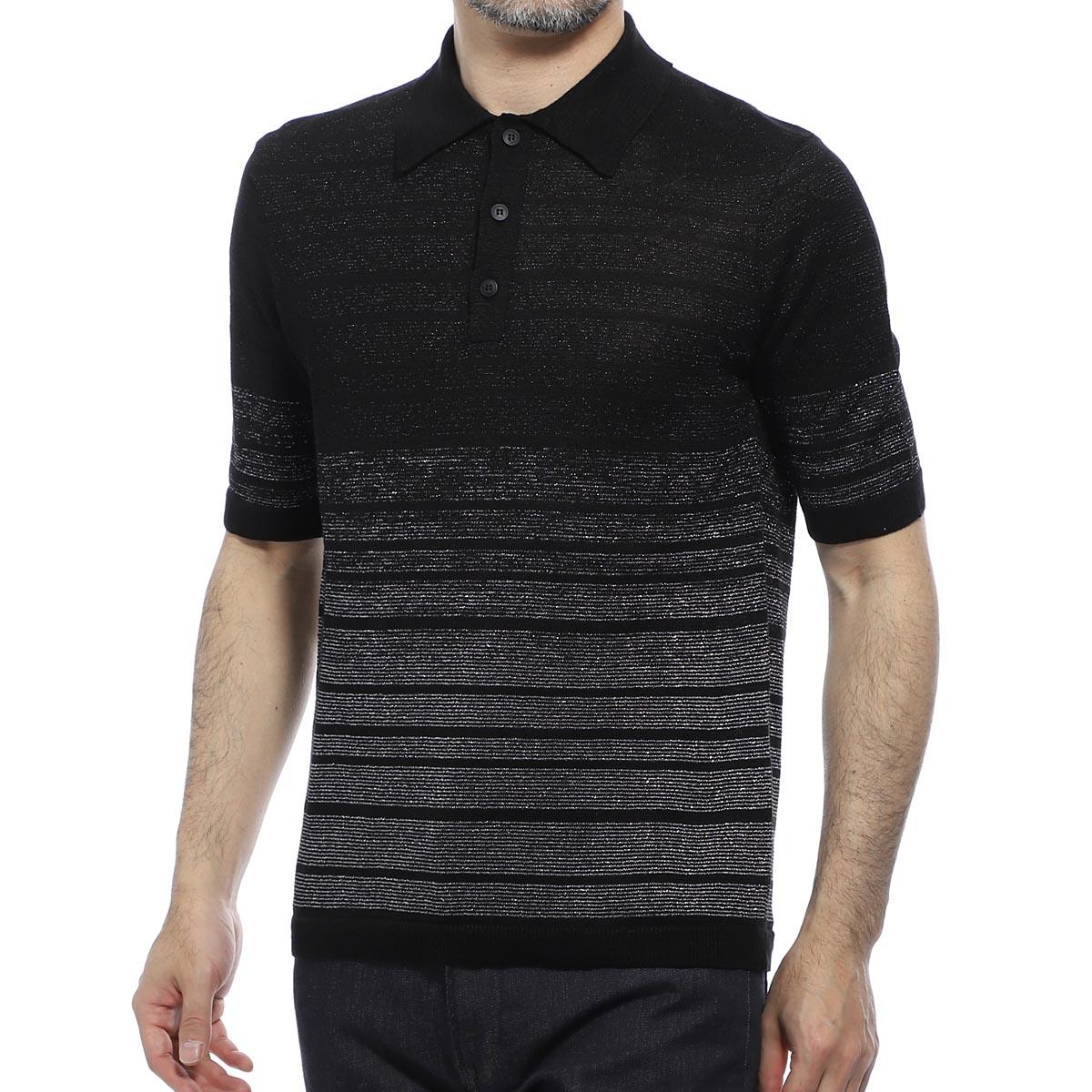 サンローランパリ SAINT LAURENT PARIS ポロシャツ ブラック メンズ 604881 yals2 1081 Saint Laurent polo shirt with lurex stripes 【あす楽対応_関東】【返品送料無料】【ラッピング無料】