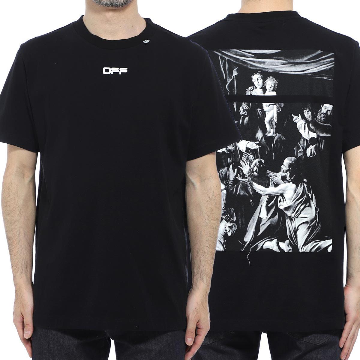 オフホワイト Off-White クルーネックTシャツ ブラック メンズ omaa027s20185005 1088 CARAVAGGIO SQUARE S/S SLIM TEE【あす楽対応_関東】【返品送料無料】【ラッピング無料】