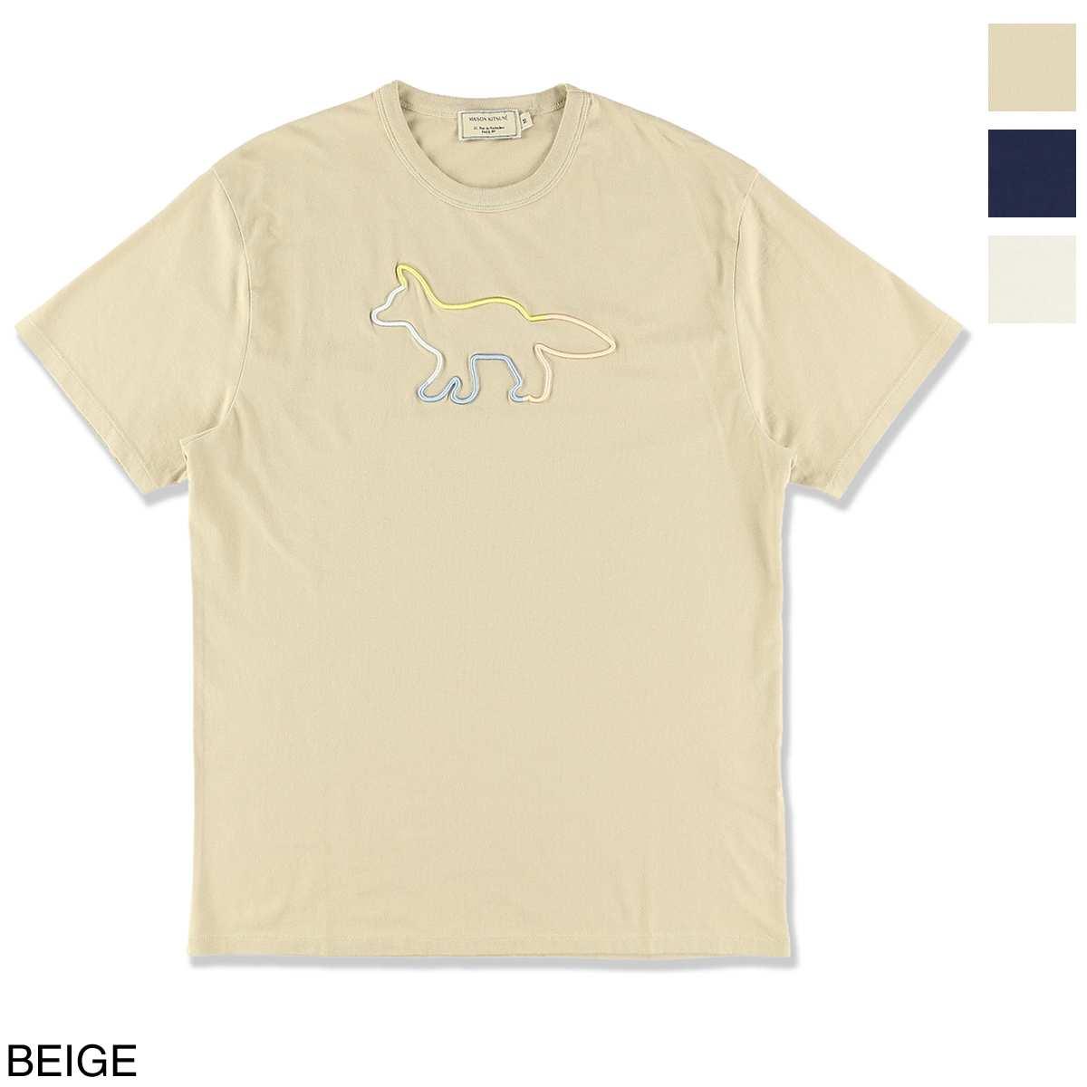 メゾンキツネ MAISON KITSUNE クルーネックTシャツ メンズ em00155kj0010 be RAINBOW PROFILE FOX EMBROIDERY【あす楽対応_関東】【返品送料無料】【ラッピング無料】