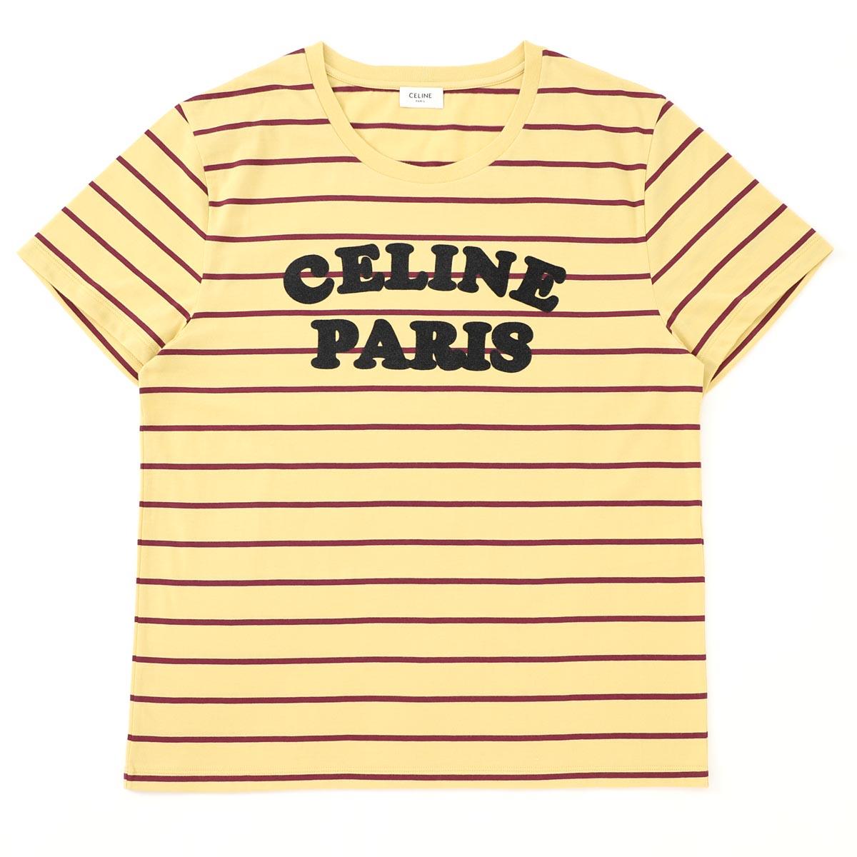 セリーヌ CELINE Tシャツ イエロー メンズ 2x309 810i 14yd JERSEY RAYE CELINE PARIS【あす楽対応_関東】【返品送料無料】【ラッピング無料】