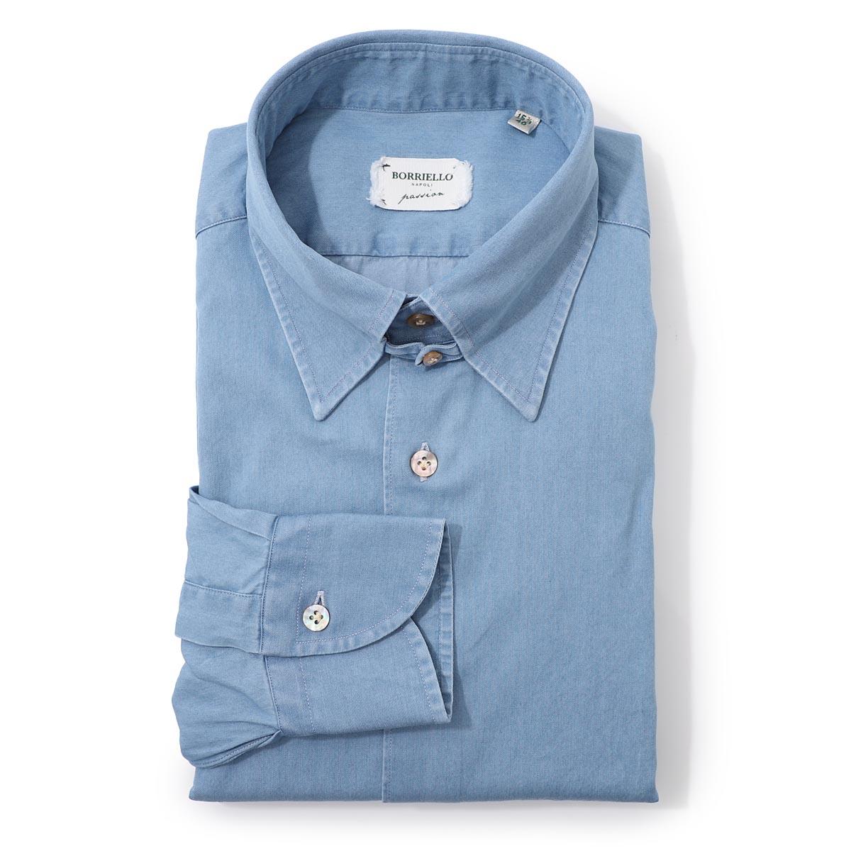 ボリエッロ BORRIELLO タブカラー シャツ ブルー メンズ 大きいサイズあり tab 9094 2 TAB SLIM FIT【あす楽対応_関東】【返品送料無料】【ラッピング無料】