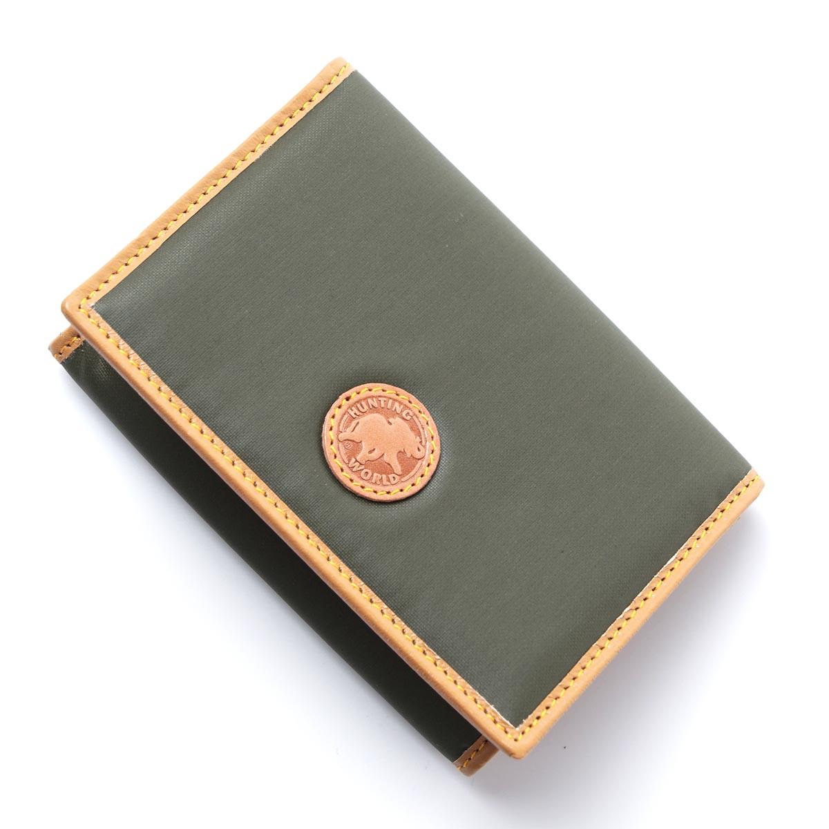 ハンティングワールド HUNTING WORLD カードケース 名刺入れ IDポケット付き グリーン メンズ 157 10a BATTUE ORIGIN【ラッピング無料】【返品送料無料】【あす楽対応_関東】