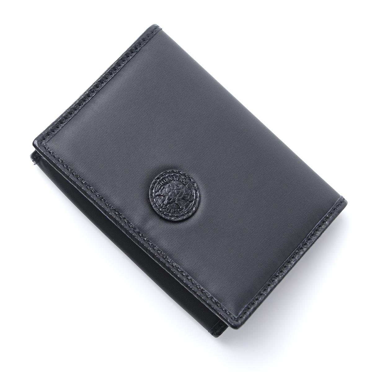 ハンティングワールド HUNTING WORLD カードケース 名刺入れ IDポケット付き ブラック メンズ BATTUE ORIGIN【ラッピング無料】【返品送料無料】【171106】【あす楽対応_関東】