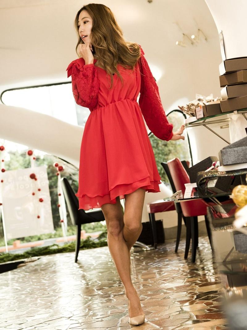[Rakuten Fashion]【SALE/30%OFF】ショルダーリボンワンピ[DRESS/ドレス] Million Carats ミリオンカラッツ アウトレット ワンピース 長袖ワンピース レッド ピンク ブラック【RBA_E】【送料無料】