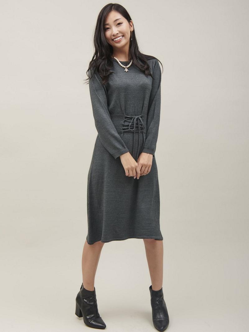 [Rakuten BRAND AVENUE]ウエストレースアップリボンニットワンピース[DRESS/ドレス] Million Carats ミリオンカラッツ ワンピース【送料無料】