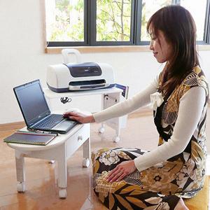 小型 PCテーブル 【送料無料】 【コンパクトパソコンテーブル MT-2702】 [プリンターも置ける分割タイプのパソコンテーブル] 小型 ミニ PCデスク パソコンデスク ノートパソコン用テーブル 分割パソコンテーブル
