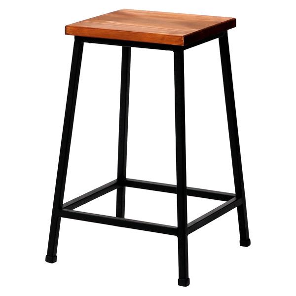 ブリック 天然木製スツール ロータイプ PR-BS49LO ◆完成品◆[椅子 チェア アイアンチェア ウッドチェア アイアンスツール ウッドスツール]