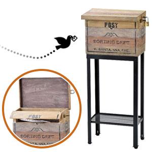 ◆送料無料・代引料無料◆ セトクラフト スタンドポスト Vintage Box SR-0826 [ヴィンテージ風 おしゃれな 木製ポスト]
