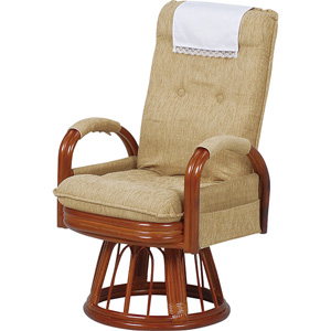 回転座椅子 肘付き 360度回転 【送料無料】【ギア回転座椅子ハイバック RZ-974-Hi-LBR】 高座椅子 リクライニングチェア 籐 ラタン高座椅子 ギア式