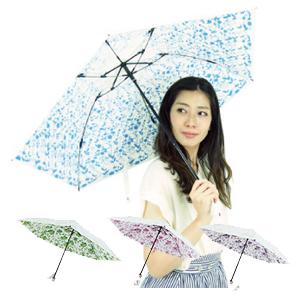雨晴兼用傘 レディース 50cm ★送料無料★【UVION プレミアムホワイト50ミニカーボン ネージュローズ】 花柄 UVカット 女性用 超軽量 日傘 雨傘 おしゃれ