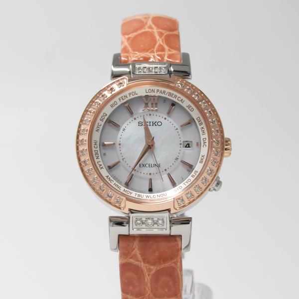 7年保証 セイコー エクセリーヌ レディース ソーラー電波腕時計SWCW112EXCELINE ダイヤモンド入りQWCBordxeE