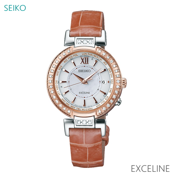 7年保証 セイコー エクセリーヌ レディース ソーラー電波腕時計 【SWCW112】 EXCELINE ダイヤモンド入り