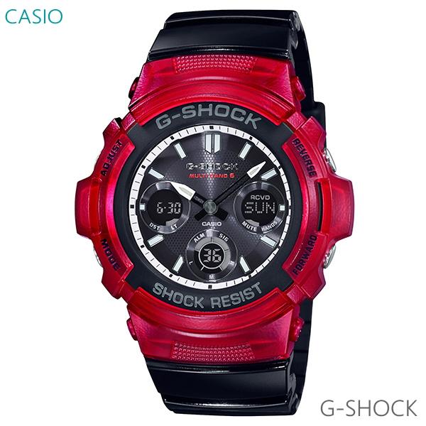 メンズ 腕時計 7年保証 カシオ G-SHOCK ソーラー 電波 AWG-M100SRB-4AJF 正規品 ブラック×レッド