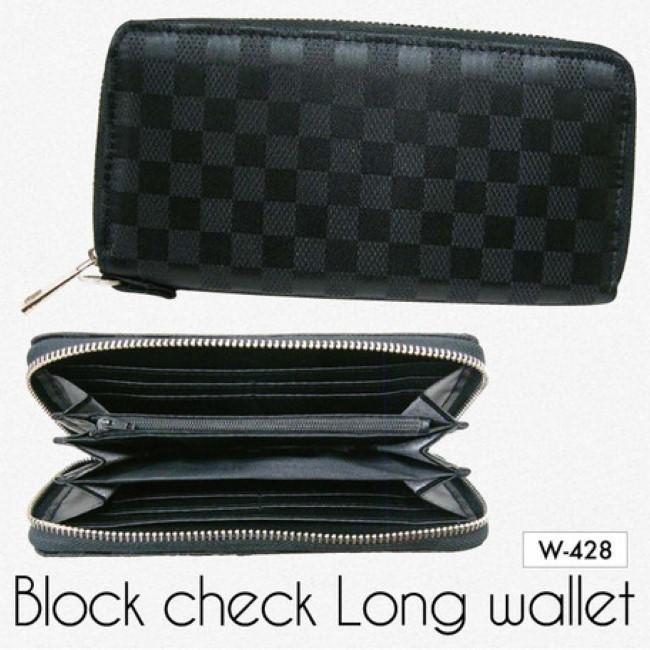 本店 ジャガードチェック ブロックチェックカジュアル財布シルバー 三方束入れ メール便送料無料 メンズ長財布 お得セット