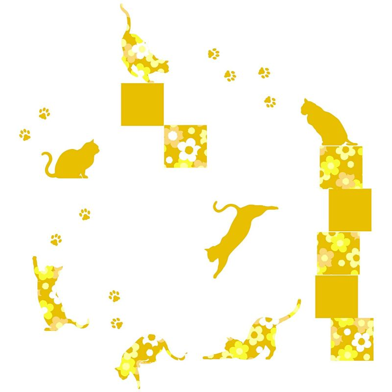 【送料無料】東京ステッカー/フローラル・キャッツ/Lサイズ/イエロー【10P03Dec16】【smtb-u】【送料込み】