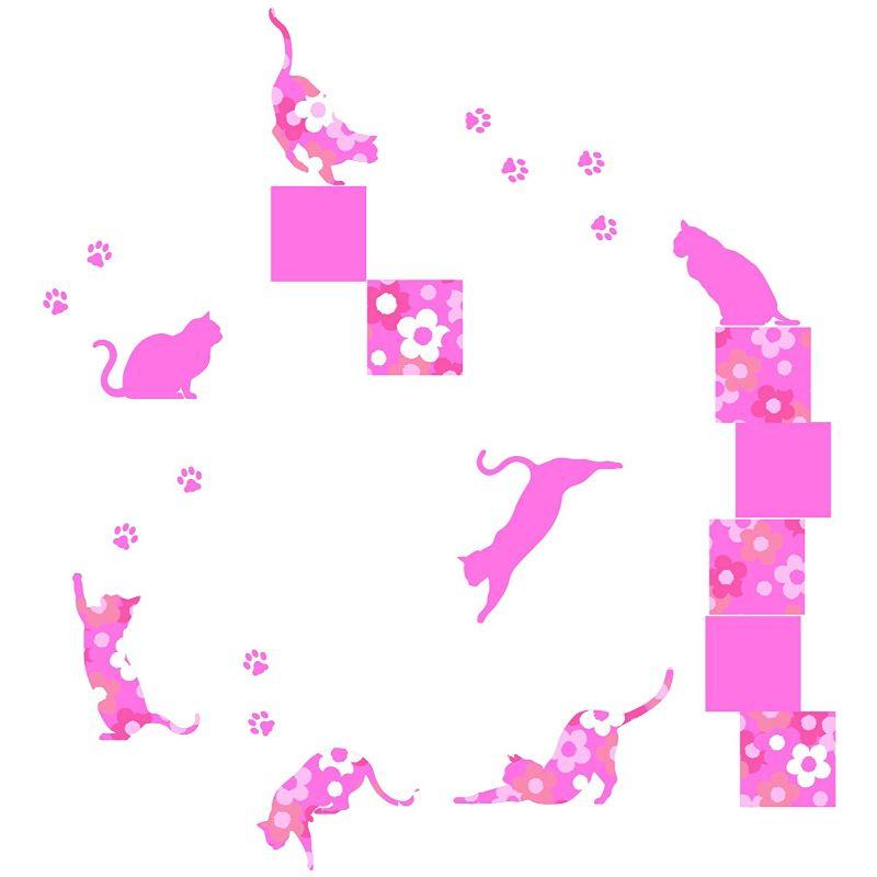 【送料無料】東京ステッカー/フローラル・キャッツ/Lサイズ/ピンク【10P03Dec16】【smtb-u】【送料込み】