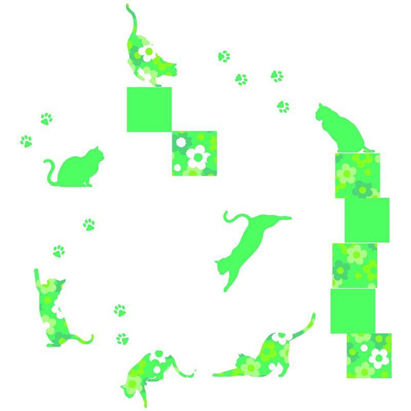 【送料無料】東京ステッカー/フローラル・キャッツ/Lサイズ/グリーン【10P03Dec16】【smtb-u】【送料込み】
