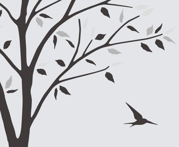 【送料無料】東京ステッカー/木とツバメ/Mサイズ/モノトーン【10P03Dec16】【smtb-u】【送料込み】