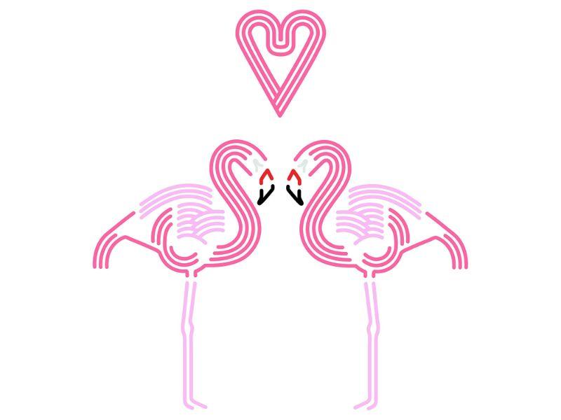 【送料無料】東京ステッカー/フラミンゴ ハート/Mサイズ/ピンク【10P03Dec16】【smtb-u】【送料込み】