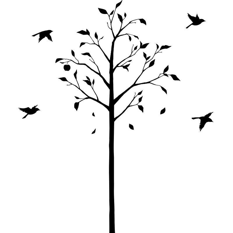 【送料無料】東京ステッカー/林檎の木と小鳥/Mサイズ/ブラック【10P03Dec16】【smtb-u】【送料込み】