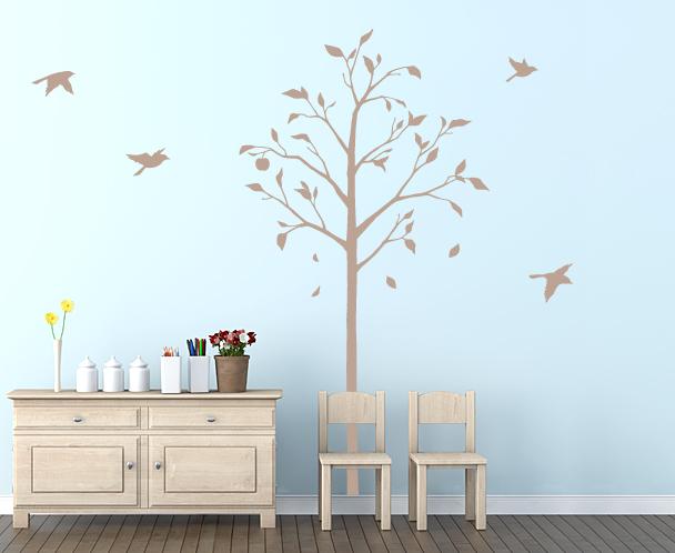 【送料無料】東京ステッカー/林檎の木と小鳥/Lサイズ/ベージュ【10P03Dec16】【smtb-u】【送料込み】
