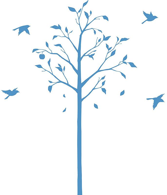 【送料無料】東京ステッカー/林檎の木と小鳥/Lサイズ/ブルー【10P03Dec16】【smtb-u】【送料込み】