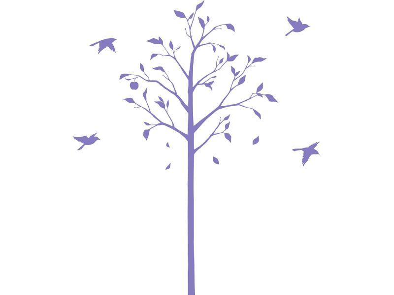 【送料無料】東京ステッカー/林檎の木と小鳥/Mサイズ/パープル【10P03Dec16】【smtb-u】【送料込み】