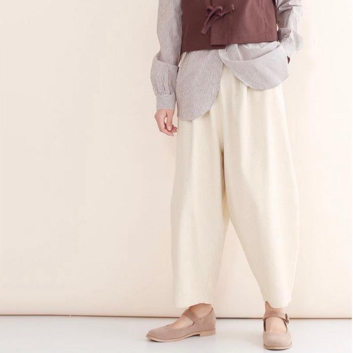 MERLOT IKYU メルローイキュウ コットン バルーン イージー パンツ 3748 レディース 大きい サイズ ワイド ナチュラルdBexWCor