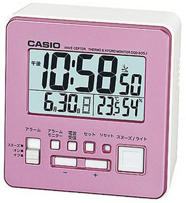送料無料 夜間も見やすい LEDライト付き 健康管理に役立つ 温度 湿度計付き デスクトップクロック 目覚まし時計 旅行 カシオ 電波時計 コンパクト 置時計 デジタル 直輸入品激安 おしゃれな ピンク CL15JL05PK 大型液晶 旅行用 LED トラベルクロック 静かな 小型 日付 曜日 湿度計 CASIO 見やすい アラーム 電波置き時計 カレンダー 一部地域を除く ライト付き スヌーズ