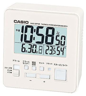 送料無料 夜間も見やすい LEDライト付き 健康管理に役立つ 温度 湿度計付き デスクトップクロック 目覚まし時計 旅行 カシオ 電波時計 コンパクト 激安卸販売新品 置時計 デジタル 内祝い おしゃれな ホワイト 白 小型 LED CASIO 日付 CL15JL06WH トラベルクロック アラーム 曜日 カレンダー 旅行用 スヌーズ 湿度計 大型液晶 見やすい 電波置き時計 ライト付き 静かな