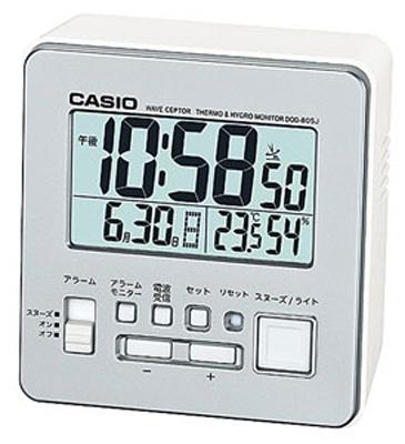 送料無料 夜間も見やすい LEDライト付き 健康管理に役立つ 温度 湿度計付き デスクトップクロック 目覚まし時計 旅行 カシオ 電波時計 コンパクト 置時計 デジタル おしゃれな シルバー 銀 日付 曜日 トラベルクロック ライト付き CASIO CL15JL07SL LED アラーム 旅行用 スヌーズ 静かな 大型液晶 カレンダー 湿度計 電波置き時計 小型 国内正規品 見やすい 新作続