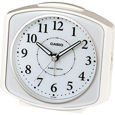 カシオ 電波時計 置時計 アナログ 目覚まし時計 おしゃれな ホワイト 白 見やすい アラビア数字 ブラック 黒(CL15JU29WHT)スヌーズ機能 アラーム 秒針 音がしない 秒針停止機能 ライト付き CASIO 静かな 電波時計 目覚まし時計