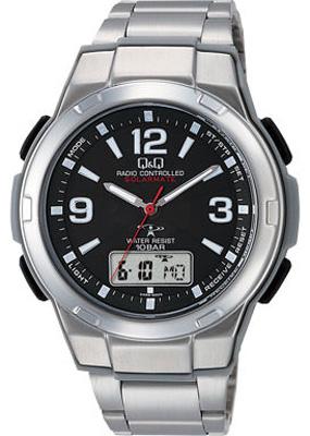 シチズン 電波時計 スポーツウォッチ 10気圧防水 メンズ ソーラー デジタル アナログ 腕時計(MDBQ13-005BLK) ストップウォッチ LED ライト付き 電波ソーラー ランニングウォッチ Q&Q マラソン ランニング 時計 アウトドアウォッチ