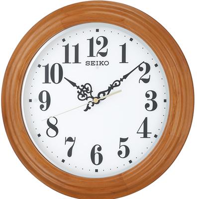 壁掛け時計 電波時計 アナログ 掛け時計 ブラウン 茶 おしゃれな木目調デザイン 木枠ケース アラビア数字 ホワイト 白 文字盤 見やすい LED ライト付き セイコー SEIKO 秒針の音がしない 連続秒針 電波掛け時計 静かな ウォールクロック (SCW17-P2101)
