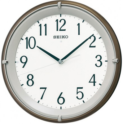 壁掛け時計 電波時計 アナログ 掛け時計 おしゃれな ブラウン 茶 メタリック 見やすい アラビア数字 ホワイト 白 文字盤 LED ライト付き セイコー SEIKO 秒針の音がしない 連続秒針 電波掛け時計 静かな ウォールクロック (SCW17-P2103)