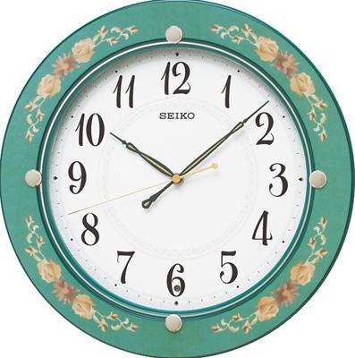 壁掛け時計 電波時計 アナログ 掛け時計 おしゃれな グリーン 緑 花柄模様 木枠ケース 見やすい アラビア数字 セイコー SEIKO 秒針の音がしない 連続秒針 スィープ秒針 電波掛け時計 静かな ウォールクロック (SCW17-P2805)