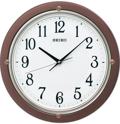 壁掛け時計 電波 アナログ 掛け時計 音がしない 連続秒針 スィープ秒針 おしゃれな ブラウン 茶 ケース枠 ハッキリ 見やすい アラビア数字 ホワイト 白 文字盤 セイコー 電波時計 SEIKO 秒針停止機能 電波掛け時計 静かな ウォールクロック (SCW17-P3103)