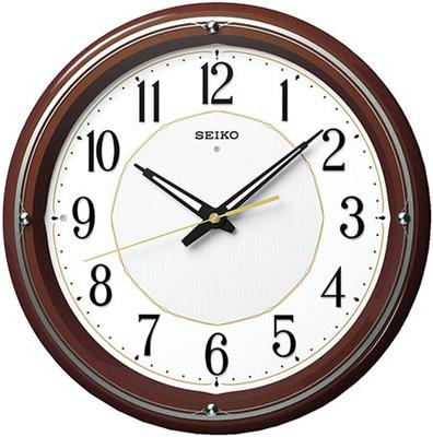 壁掛け時計 電波時計 アナログ 掛け時計 ブラウン 濃茶 おしゃれな木目調デザイン 木枠ケース アラビア数字 ホワイト 白 文字盤 見やすい ライト付き セイコー SEIKO 秒針の音がしない 連続秒針 電波掛け時計 静かな ウォールクロック (SCW17-P2001)