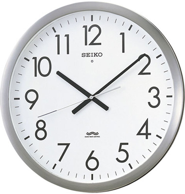 壁掛け時計 電波 アナログ 掛け時計 音がしない 連続秒針 スィープ秒針 おしゃれな ステンレス 金属枠 見やすい 大型 文字盤 ホワイト 白 アラビア数字 セイコー 電波時計 SEIKO オフィス用 大型 電波掛け時計 静かな ウォールクロック (SCW17-P3801)