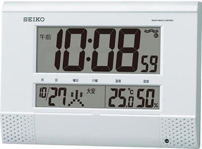 セイコー 電波時計 置時計 デジタル 目覚まし時計 おしゃれな ホワイト 白 メロディー アラーム プログラム機能 日付 曜日 カレンダー 六曜表示 温度 湿度計 電池切れ予告機能 見やすい 大型液晶 掛置兼用 SEIKO 電波 置き時計 静かな 電波掛け時計 (SCW17-P6702)